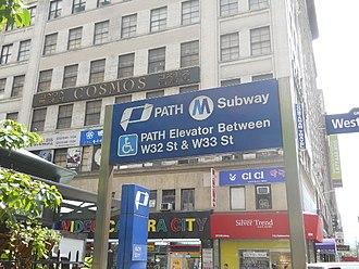 33rd Street station (PATH) - 33rd Street station entrance