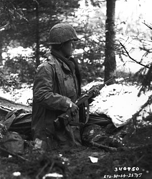 442nd Infantry Regiment (United States) - A 442nd RCT squad leader checks for German units in France in November 1944.