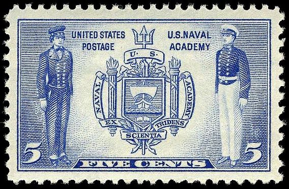 The U.S. Naval Academy was honored by the U.S. Post Office on a commemorative stamp, depicting two midshipmen in past (left) and present uniforms, with the Naval Academy seal at center, issued in 1937. 5c Navy issue 1937 U.S. stamp.1.jpg