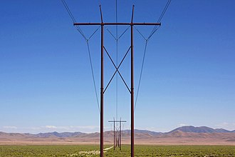 Eureka County, Nevada - HVAC transmission towers crossing Crescent Valley east of State Route 306