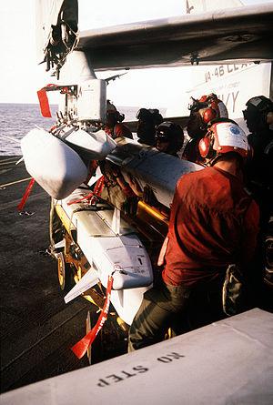 ADM-141 TALD - ADM-141 TALDs being loaded onto Lt. Jeff Greer's A-7 Corsair II on 16 Jan 1991