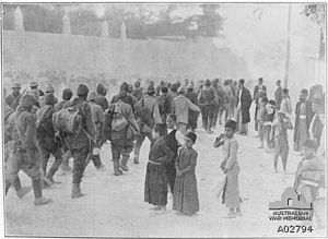Battle of Nablus (1918) - Ottoman prisoners march through Nablus