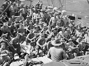 36th Battalion (Australia) - Members of the 36th Battalion are addressed by their commanding officer on a troopship en route to New Ireland in 1944