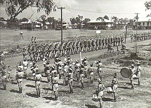 10th Battalion (Australia) - Band members from the 10th/48th Battalion on parade in Darwin, September 1944.