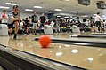 A Chinese sailor competes in a bowling competition in support of exercise Rim of the Pacific (RIMPAC) 2014 at the bowling center at Joint Base Pearl Harbor-Hickam, Hawaii, June 30, 2014 140630-N-RN782-024.jpg