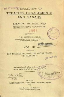 A Collection of Treaties, Engagements and Sanads relating to India and Neighbouring Countries Vol 3.djvu