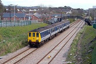 NIR Class 450 - 8459 passing the site of Barn Halt.