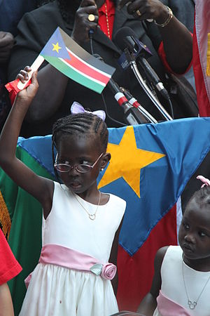 South Sudan - A South Sudanese girl at independence festivities