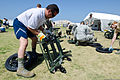 A U.S. Airman, left, assigned to the California Air National Guard's Homeland Response Force (HRF) assembles a collapsible stretcher during an emergency response training exercise at Naval Amphibious Base 130524-Z-UP142-032.jpg