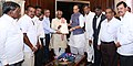 A delegation led by the Minister of State for Labour and Employment (Independent Charge), Shri Bandaru Dattatreya calling on the Union Home Minister, Shri Rajnath Singh, in New Delhi on June 28, 2016.jpg