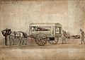 A horse-drawn military ambulance, c. 1850, with one patient Wellcome V0015768.jpg