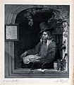 A learned man seated in an arched window, with alchemical in Wellcome V0025554.jpg