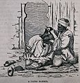 A street barber dressing a man's hair in Cairo. Wood engravi Wellcome V0019807EL.jpg