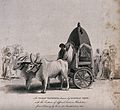 A vehicle with wooden wheels pulled by two oxen. Engraving a Wellcome V0040983.jpg