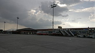 Tribhuvan International Airport - Evening view of the airport, from the boarding area