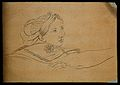 A woman expressing attention, desire and hope. Drawing, c. 1 Wellcome V0009171.jpg