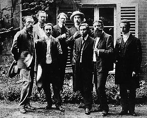 Alexandre Mercereau - Abbaye de Créteil, ca.1908. First row: Charles Vildrac, René Arcos, Albert Gleizes, Barzun, Alexandre Mercereau. Second row: Georges Duhamel, Berthold Mahn, d'Otémar