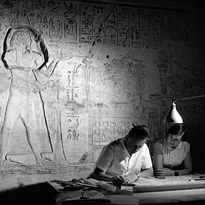 Abu Simbel temples - Geneva architect, Jean Jacquet, a Unesco expert, makes an architectural survey of the Great Temple of Rameses II ( 1290 - 1223 B.C.).