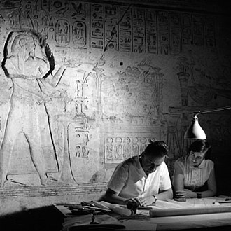 Abu Simbel temples - Genevese architect, Jean Jacquet, a UNESCO expert, makes an architectural survey of the Great Temple of Rameses II ( 1290 - 1223 B.C.).