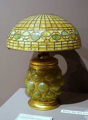 File Acorn Table Lamp Louis Comfort Tiffany Mady By