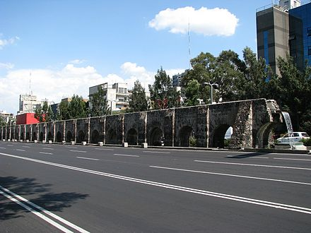 Chapultepec aqueduct, originally a Tenochtitlan rainwater harvesting building, was enlarged by the Spanish. Acueducto de Chapultepec.jpg