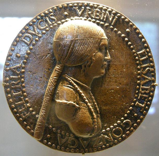 Artist: Adriano Fiorentino. Elisabetta Gonzaga, post 1502, recto.JPG