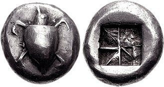 Aegina - Silver stater of Aegina, 550–530 BC. Obv. Sea turtle with large pellets down centre. Rev. incuse square with eight sections.
