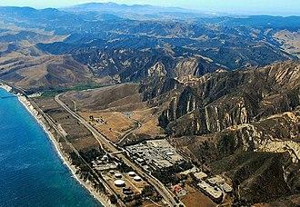 Gaviota, California - Gaviota aerial, including the oil installation and much of Gaviota State Park, 2009