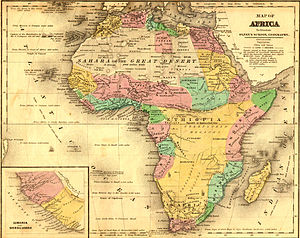 Abyssinian people - Abyssinia depicted on map before 1884 Berlin Conference to divide Africa.