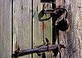 Age-worn door latch and lock on well-weathered planks - original image Kodachrome 25 colour reversal film, May 1980 ( DSC1340).jpg