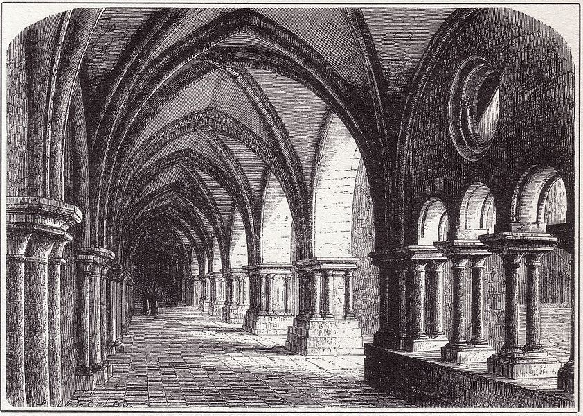 Gravure représentant l'aile septentrionale du cloître de Luexeuil.