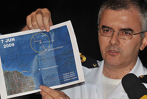 Air France Flight 447 - Recife, 8 June 2009, Captain Tabosa shows the map with the location of the remains of the Airbus A330-203.