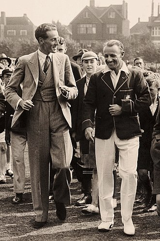 Alan Melville - Melville with the Australian captain Don Bradman before their match on 25 August 1934