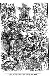 Un'antica immagine della Donna dell'Apocalisse e del Drago