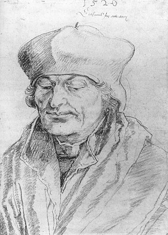 Portrait of Erasmus (Dürer) - Albrecht Dürer, Portrait of Erasmus, sketch: black chalk on paper, 1520.