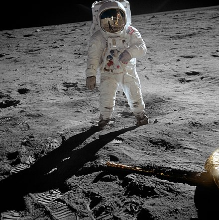 Buzz Aldrin walks on the Moon during the pioneering Apollo 11 mission in 1969 Aldrin Apollo 11 original.jpg