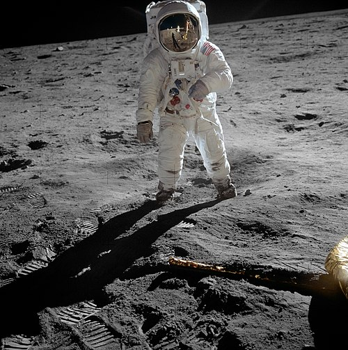 Buzz Aldrin (shown) and Neil Armstrong became the first people to walk on the Moon during NASA's 1969 Apollo 11 mission Aldrin Apollo 11 original.jpg