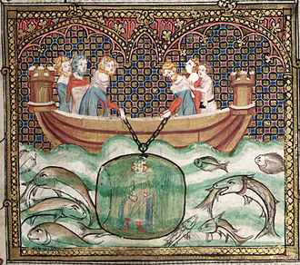 French alexandrine - Alexander the Great in a diving bell: a scene from the line's namesake, the Roman d'Alexandre.