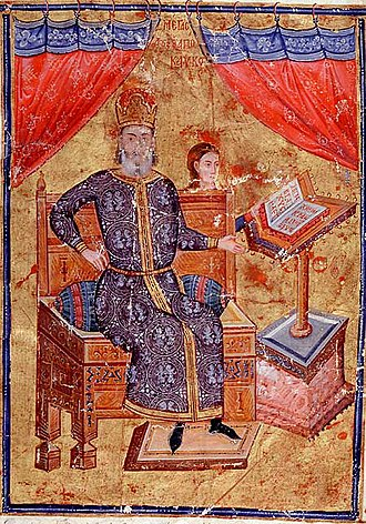 Byzantine civil war of 1341–1347 - Donor portrait of the megas doux Alexios Apokaukos, one of the leaders of the anti-Kantakouzenos regency.