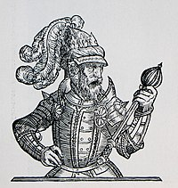 Drawing of man in ceremonial dress, looking at a scepter