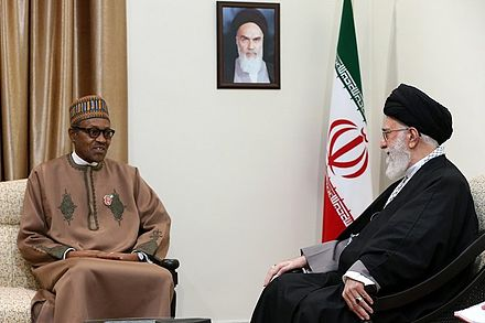 Muhammadu Buhari at the house of Ali Khameni in Tehran Ali Khamenei receives Muhammadu Buhari in his house.jpg