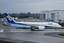 f5138b282a5 Boeing 787 in launch customer All Nippon Airways' blue and white livery. In  the