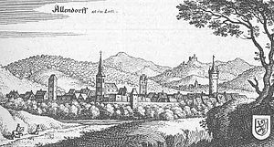 Allendorf, Giessen - Drawing of Allendorf from Topographia Hassiae by Matthäus Merian, 1655.