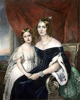 Princess Maria Amélia of Brazil - Maria Amélia with her mother, c. 1840
