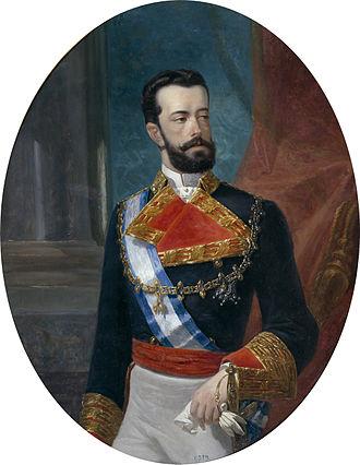 Maria Letizia Bonaparte, Duchess of Aosta - An older portrait of Maria Letizia's husband Prince Amadeus of Savoy, Duke of Aosta during his time as King of Spain.
