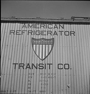 American Refrigerator Transit Company - Detail on an American Refrigerator Transit car, 1943.