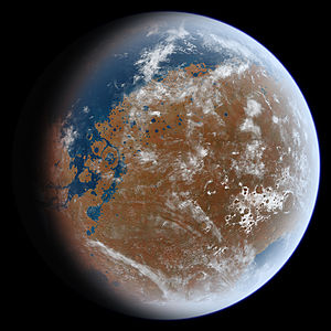 Noachian - Artist's impression of an early wet Mars. Late Hesperian features (outflow channels) are shown, so this does not present an accurate picture of Noachian Mars, but the overall appearance of the planet from space may have been similar. In particular, note the presence of a large ocean in the northern hemisphere (upper left) and a sea covering Hellas Planitia (lower right).