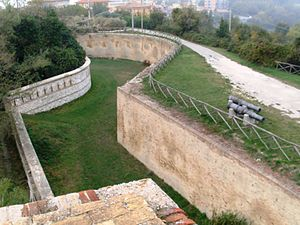 Carnot wall - The Carnot wall at Forte Altavilla, Ancona, Italy
