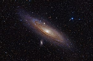 Nu Andromedae - Nu Andromedae is the prominent blue star in the upper right of this image. At the center is the Andromeda Galaxy
