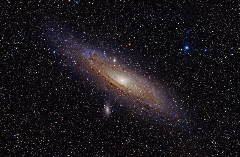 Andromeda as we can see it today. Wikimedia image: The Andromeda Galaxy is a spiral galaxy approximately 2.5 million light-years away in the constellation Andromeda. The image also shows Messier Objects 32 and 110, as well as NGC 206 (a bright star cloud in the Andromeda Galaxy) and the star Nu Andromedae. This image was taken using a hydrogen-alpha filter.